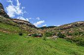 Hut In Lesotho Landscape