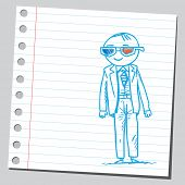 Businessman with three-dimensional glasses