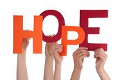 stock photo of promises  - Many Hands Holding the Word Hope Isolated - JPG