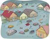 Illustration of a Flooded City with Partially Submerged Houses and Vehicles