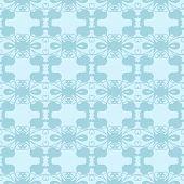 Neutral Floral Ornament. Cool Blue