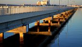 Bridge Reflection over Ocean Water near Biloxi