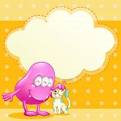 Illustration of a pink monster and a cat with an empty cloud template