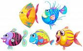 Illustration of a group of smiling fishes on a white background