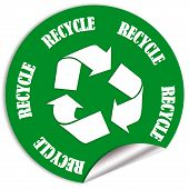 picture of reuse recycle  - Recycle green sticker isolated on white background - JPG