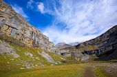 Monte Perdido and Soum Raymond at Soaso circus in Ordesa Valley Aragon Pyrenees Huesca Spain