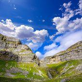 Cascada Cola de Caballo waterfall and Circo de Soaso at Ordesa Valley Aragon Huesca Pyrenees of Spain