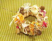 Christmas straw wreath decoration