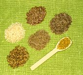 Set Of Spices On Green Leaf