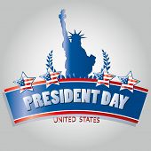 stock photo of statue liberty  - four colored stars with the american flag and the statue of liberty for president day - JPG