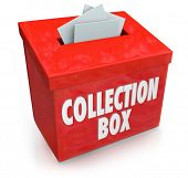 stock photo of word charity  - Collection Box Words Charity Fund Raising Donor Money Campaign - JPG