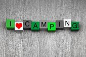 I Love Camping, Sign Series For The Outdoors And Adventure.