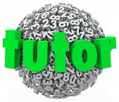 stock photo of tutor  - Tutor Word Number Ball Sphere Math Private Lesson - JPG