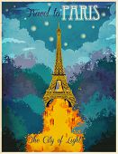 Travel to Paris Poster - Vintage traveling advertisement showing lit up Eiffel Tower and light-flood