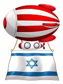Illustration of the flag of Israel attached to the floating stripe-colored balloon on a white backgr