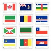 foto of burundi  - Flags of Canada Cayman Islands Central African Republic Chechen Republic Chad Cape Verde Burundi Ichkeria Chile Buryatia Cameroon and Cambodia on Metal Texture Plates - JPG