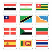 A Set Of Countries Flags On Metal Texture Plates