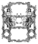 picture of ermine  - Old Victorian Frame and Two Woman  - JPG
