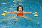 Woman In Water With Dumbbells