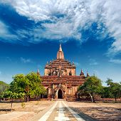 Temple in Bagan, Myanmar. Famous tourist destination and Burma landmark poster