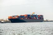 Fully Laden Container Ship In Port