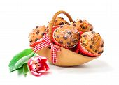 stock photo of patty-cake  - Muffins in a basket isolated on white background - JPG