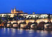 Vltava River, Charles Bridge And Prague Castle