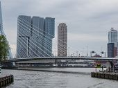 The Largest Building Of The Netherlands Right Behind Erasmus Bridge In Rotterdam, Netherlands