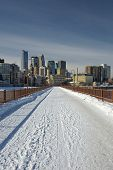 Snow covering the Stone Arch Bridge, Minneapolis, Minnesota, USA