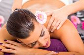 Beautiful Woman Having A Back Massage