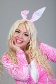 image of bunny costume  - Beautiful young blond woman as easter bunny with rabbit ears on  - JPG