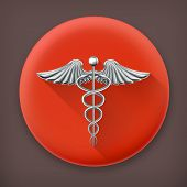Caduceus, long shadow vector icon