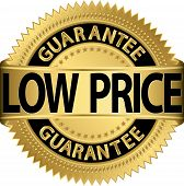 Low price guarantee golden label, vector illustration