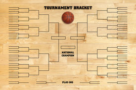 picture of superimpose  - Basketball tournament bracket superimposed on a wood gym floor - JPG