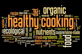 image of food pyramid  - Healthy cooking and slow food diet concepts word cloud illustration - JPG