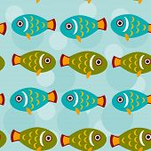 picture of aquatic animal  - pattern with funny cute fish animal on a blue background - JPG