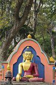 Statue Of Buddha At  Swayambhunath Temple In Kathmandu, Nepal.