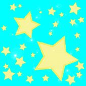 Abstract Bokeh Gold Star On Blue Background