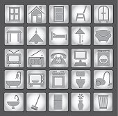 Common house appliances - grey icons set