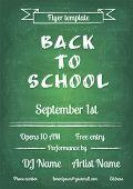 Back to school blue chalk board flyer