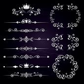 Floral design elements vintage dividers and frames with crowns