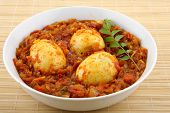 stock photo of kadai  - Egg roast with Appam is the best breakfast food combination among Kerala style recipes [[** Note: Soft Focus at 100%, best at smaller sizes] ** Note: Visible grain at 100%, best at smaller sizes - JPG