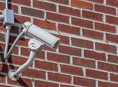 Security Camera, Cctv On Brick Wall Background