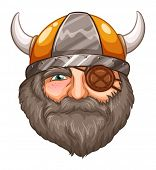Illustration of a male viking with eyepatch