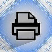 Printer. Flat modern web design on a flat geometric abstract background