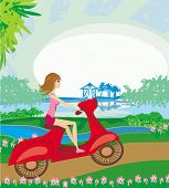 Motorcycle Girl On A Sunny Day