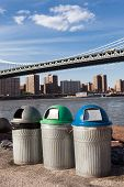 Recycle Bins Near Riverside Around The Manhattan Bridge