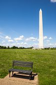 Bench With The Washington Monument Background
