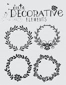 Vintage Hand Drawn Wreath with Floral Elements