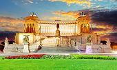 Rome, Italy. Vittoriano With Gigantic Equestrian Statue Of King Vittorio Emanuele Ii